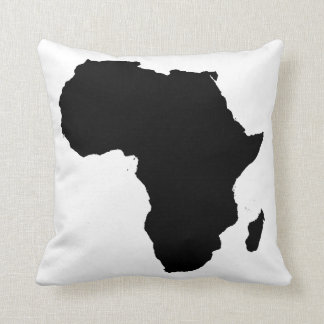 Africa Continent Black & White Overstuffed Pillow