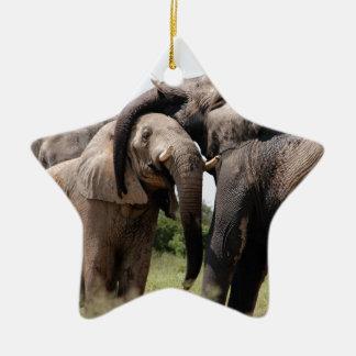 Africa Elephant Family Ceramic Star Ornament