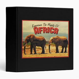Africa Elephants Vintage Travel 3 Ring Binders