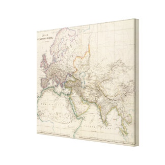 Africa, Europe and western Asia Atlas Map Stretched Canvas Print