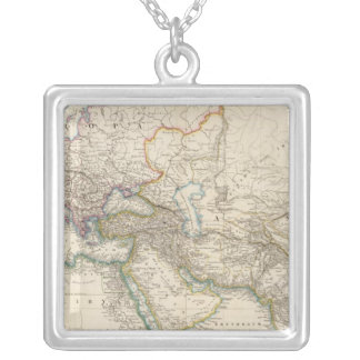 Africa, Europe and western Asia Atlas Map Square Pendant Necklace