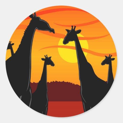 Africa-Giraffes Classic Round Sticker