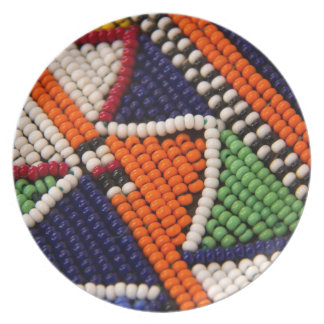 Africa, Kenya. Maasai Tribal Beads Party Plates