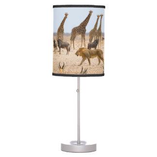 AFRICA LAMP.  AFRICAN ANIMALS, LION, GIRAFFE TABLE LAMP