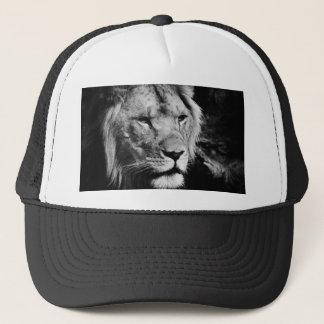 africa lion male closeup macro trucker hat