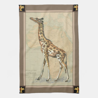 Africa Map and a Giraffe Kitchen Towel