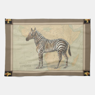 Africa Map and a Zebra Kitchen Towel