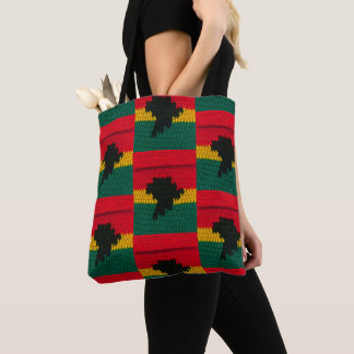 Africa Map Black Red Gold Green Crochet Print on Tote Bag