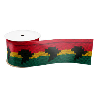 Africa Map Black Red Gold Green Jamaican Crochet Satin Ribbon