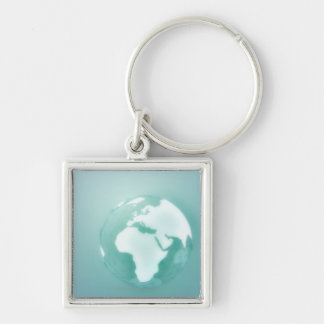 Africa on Globe Silver-Colored Square Keychain