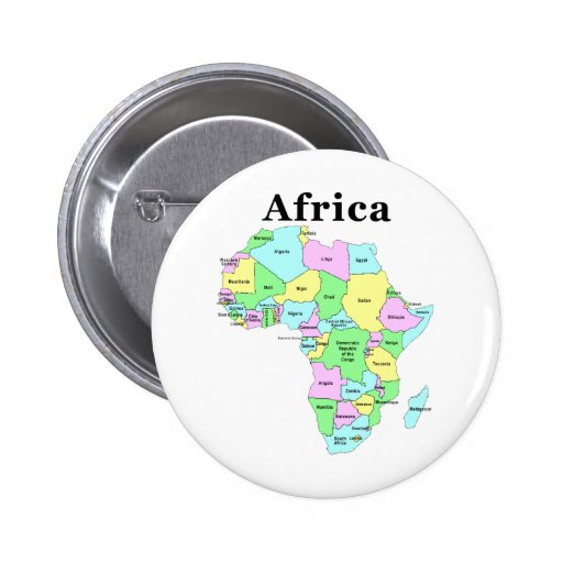 Africa - Political Map 2 Inch Round Button