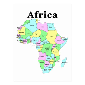 Africa - Political Map Postcard