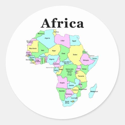 Africa - Political Map Round Sticker