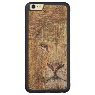 Africa safari animal wildlife majestic lion carved maple iPhone 6 plus bumper case