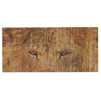 Africa safari animal wildlife majestic lion wood USB flash drive