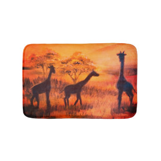 Africa safari steppe giraffes bath rugs