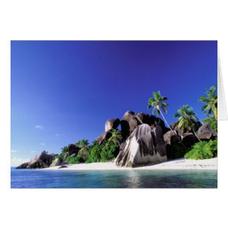 Africa, Seychelles, La Digue Island. Granite 3 Card