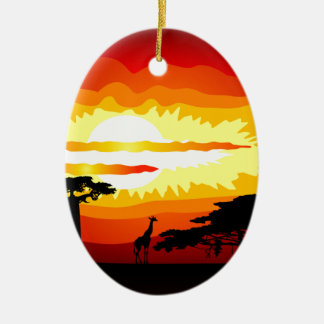 Africa sunset ceramic ornament