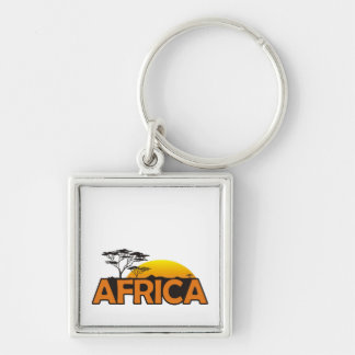 Africa sunset with orange setting sun Silver-Colored square keychain