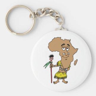 Africa Vintage Travel Souvenir Caricature Art Basic Round Button Keychain