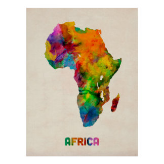 Africa Watercolor Map Poster