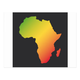 Africa with black background postcard