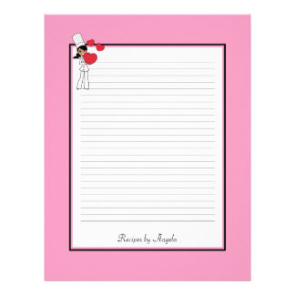 Africal American Woman Recipe Pages Lined Personalized Letterhead