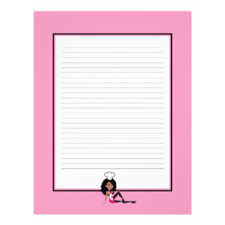 Africal American Woman Recipe Pages Lined Letterhead Design