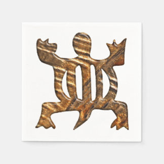 African Adinkra simbol of adaptability. Paper Napkin
