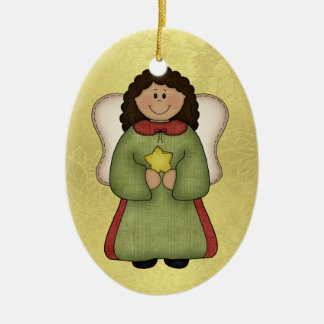 African American Angel Ceramic Ornament