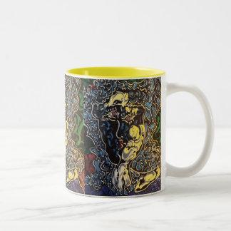 """African American art"" ""mardi gras ""masquerader Two-Tone Coffee Mug"