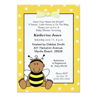 African American Baby Bee Baby Shower  Invitation