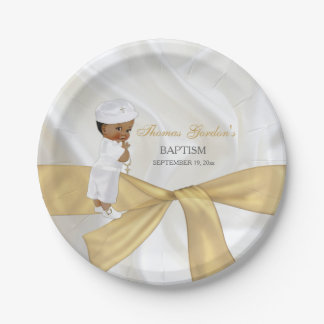 African American Baby Boy Baptism Christening Paper Plate