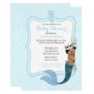 African American Baby Boy Merman Prince Crown Card