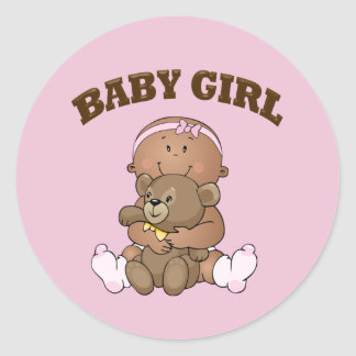African American Baby Girl and Bear Classic Round Sticker