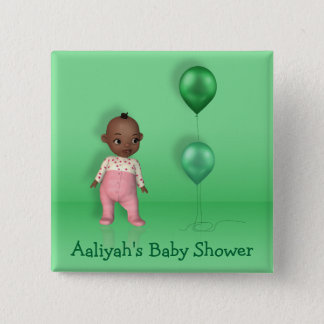 African American Baby Girl - Baby Shower Button