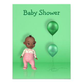 African American Baby Girl Baby Shower Invitation