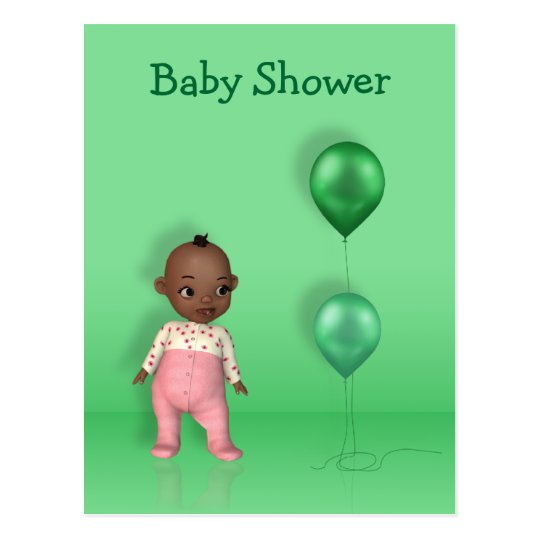 African American Baby Girl - Baby Shower Postcard