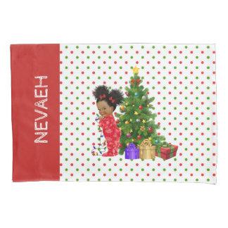 African American Baby Girl Christmas Pillowcase