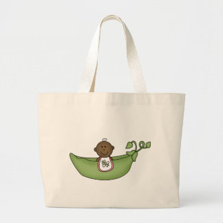 African American Baby Girl Pea Pod Large Tote Bag