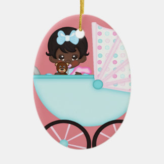 African American Baby Girl Pink Carriage Ceramic Ornament