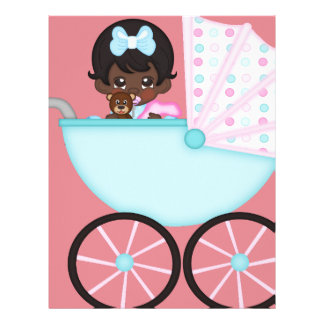 African American Baby Girl Pink Carriage Customized Letterhead