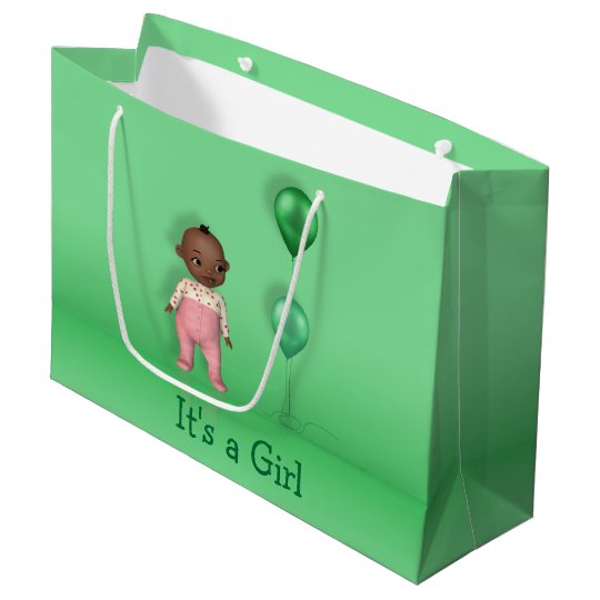 African American Baby Its a Girl Large Gift Bag