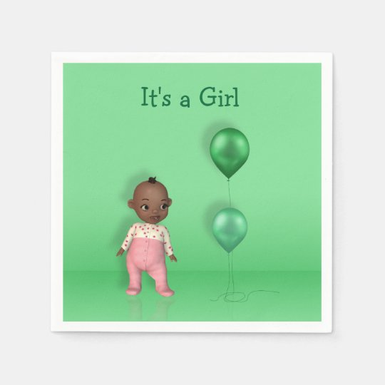 African American Baby - It's a Girl Paper Napkin