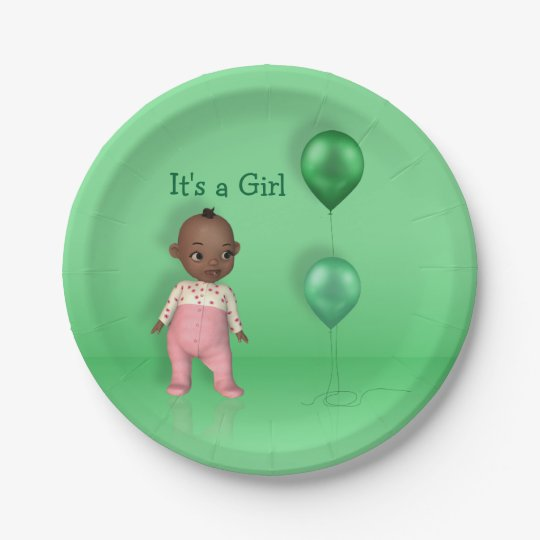 African American Baby - It's a Girl Paper Plate 7 Inch Paper Plate