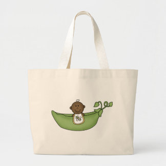 African American Baby Pea Pod Large Tote Bag