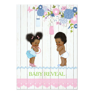 African American Baby Reveal Baby Shower Invitatio Card
