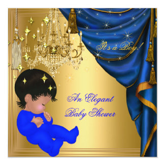 African American Baby Shower Boy Blue Gold Card