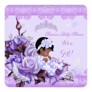 """African American Baby Shower Girl Butterfly Lilac 5.25"""" Square Invitation Card"""
