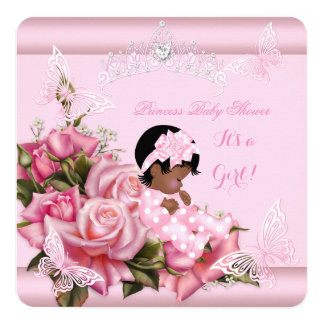 """African American Baby Shower Girl Butterfly Pink 5.25"""" Square Invitation Card"""